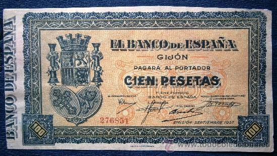 EL BANCO DE ESPAÑA EN JIGÓN 100 PESETAS 1937 GUERRA CIVIL SE ENVÍA EL DE LA FOTO (Numismática - Notafilia - Billetes Españoles)