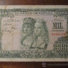 Billetes españoles: 1000 PESETAS 1957 - REYES CATOLICOS - SERIE B. Lote 38366357