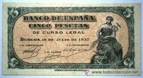 5 PESETAS BURGOS 18 DE JULIO DE 1937 RARO GUERRA CIVIL VER FOTOS (Numismática - Notafilia - Billetes Españoles)
