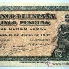 Billetes españoles: 5 PESETAS BURGOS 18 DE JULIO DE 1937 RARO GUERRA CIVIL VER FOTOS. Lote 38366890
