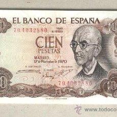Billetes españoles: BILLETE CIEN PESETAS 100 - 1970 MANUEL DE FALLA MBC. Lote 38458071