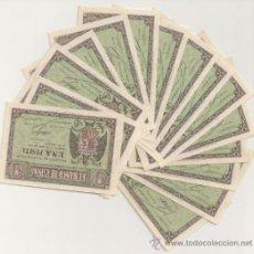 Billetes españoles: 1 PESETA DE 1938 ABRIL, LOTE DE 15 BILLETES CORRELATIVOS SERIE I, PLANCHA. Lote 38757760