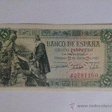 Billetes españoles: BILLETE DE 5 PESETAS DE 15 DE JULIO DE 1945. Lote 27291250