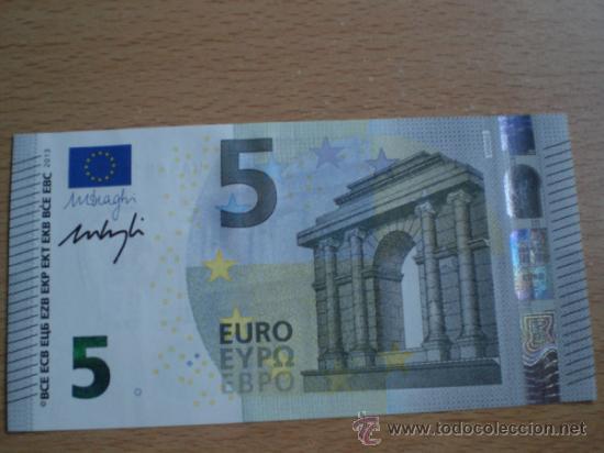 billete 5 euros firmado en mano por mario dragh comprar billetes antiguos espa oles en. Black Bedroom Furniture Sets. Home Design Ideas