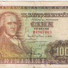 Billetes españoles: BILLETE BANCO DE ESPAÑA - CIEN PESETAS - 1948 - FOTO ADICIONAL. Lote 39168654