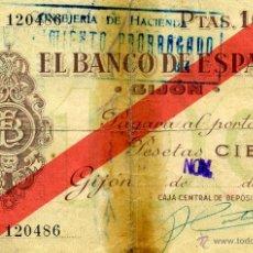 Billetes españoles: BILLETE 100 PESETAS. REPÚBLICA. GIJÓN. 1936. Lote 39328594