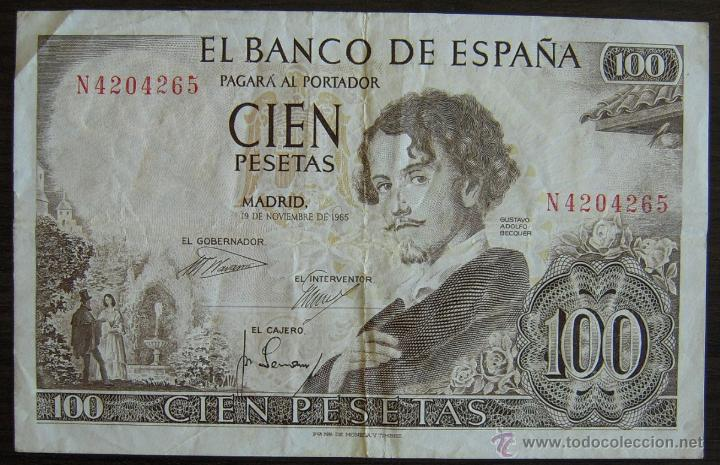 BILLETE DE 100 PESETAS DE 1965 MBC (Numismática - Notafilia - Billetes Españoles)