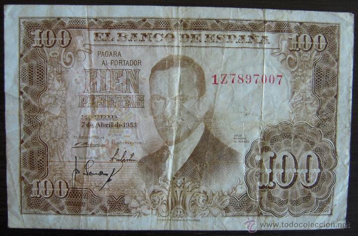BILLETE DE 100 PESETAS DE 1953 EN MBC (Numismática - Notafilia - Billetes Españoles)