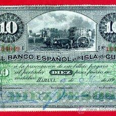 Billetes españoles: BILLETE 10 PESOS BANCO ESPAÑOL ISLA DE CUBA VARIANTE NO IMPRESO , 1896 , ORIGINAL, MBC, T649. Lote 39387253