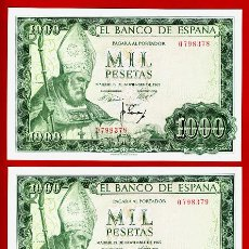 Billetes españoles: PAREJA 2 BILLETES 1000 PESETAS 1965 , EBC , OJO SIN SERIE , ORIGINAL , T378. Lote 39404662