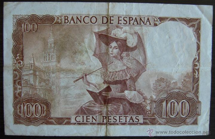 Billetes españoles: BILLETE DE 100 PESETAS DE 1965 MBC - Foto 2 - 39387077