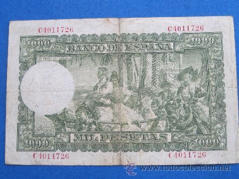Billetes españoles: España , 1000 pesetas 31 diciembre 1951, Joaquin Sorolla, Franco , Franquismo , Estado Español ,16 - Foto 2 - 39588385