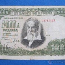 Billetes españoles: ESPAÑA , 1000 PESETAS 31 DICIEMBRE 1951, JOAQUIN SOROLLA, FRANCO , FRANQUISMO , ESTADO ESPAÑOL ,16. Lote 39588618
