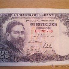 Billetes españoles: 25 PESETAS 1954 BC. Lote 39874047