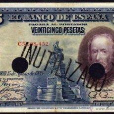 Billetes españoles: RARO BILLETE ESPAÑA - 25 PESETAS - MADRID 15 AGOSTO 1928 - INUTILIZADO - DOS TALADROS - SERIE: C. Lote 39905500