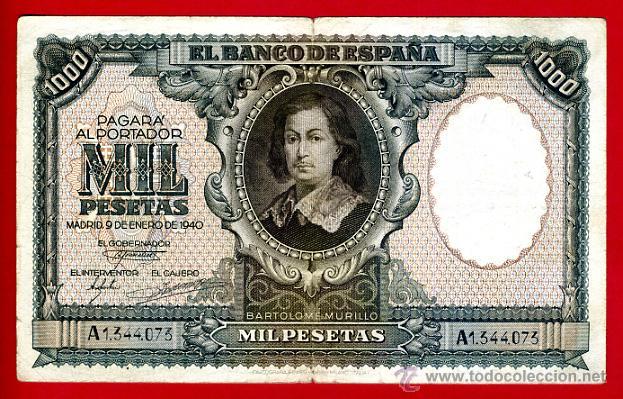 BILLETE 1000 PESETAS ENERO 1940 , MBC , SERIE A , ORIGINAL, T073 (Numismática - Notafilia - Billetes Españoles)