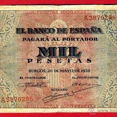 Billetes españoles: BILLETE 1000 PESETAS 1938 , MBC , SERIE A , ORIGINAL, T286. Lote 40002937
