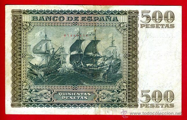 Billetes españoles: BILLETE 500 PESETAS ENERO 1940 , MBC , SERIE A , ORIGINAL, T838 - Foto 2 - 40002780
