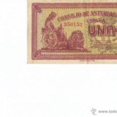 Billetes españoles: ESPAÑA 1 PESETA DE ASTURIAS Y LEON EBC+ IMAGEN AMBAS CARAS. Lote 101121099