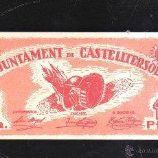 Billetes españoles: BILLETE DE 1 PESETA. AJUNTAMENT DE CASTELLTERSOL. PLANCHA. Lote 40442459