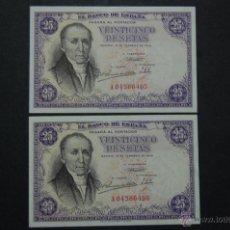 Billetes españoles: PAREJA DE BILLETES DE 25 PESETAS DE 1946, SIN CIRCULAR, SERIE A, FLÓREZ ESTRADA. Lote 40534098