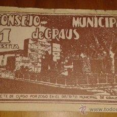 Billetes españoles: BILLETE DE 1 PTA, CONSEJO MUNICIPAL DE GRAUS, 1937. Lote 40659875