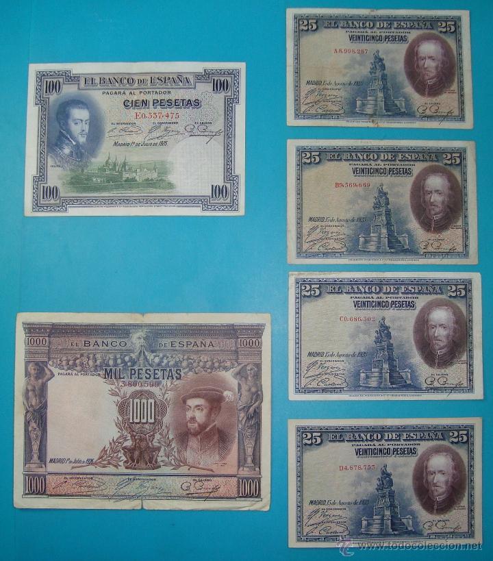 LOTE DE 36 BILLETES DE PESETAS ESPAÑA DESDE 1925 HASTA 1965 (Numismática - Notafilia - Billetes Españoles)