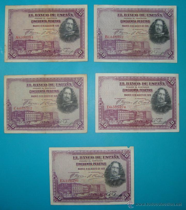 Billetes españoles: LOTE DE 36 BILLETES DE PESETAS ESPAÑA DESDE 1925 HASTA 1965 - Foto 3 - 41253794