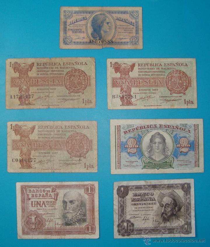 Billetes españoles: LOTE DE 36 BILLETES DE PESETAS ESPAÑA DESDE 1925 HASTA 1965 - Foto 9 - 41253794