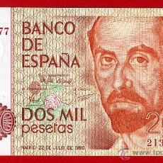 Billetes españoles: BILLETE 2000 PESETAS 1980 , PLANCHA , SERIE 2I , ORIGINAL , T177. Lote 41570316