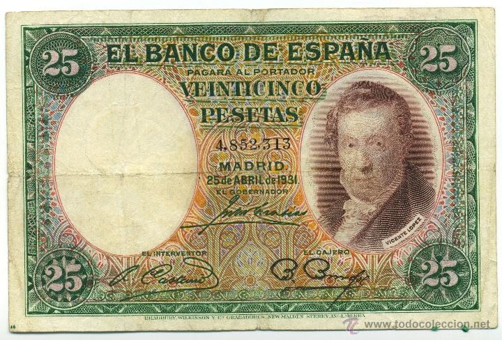 BILLETE DE 25 PESETAS DE 25 DE ABRIL DE 1931. BC (Numismática - Notafilia - Billetes Españoles)