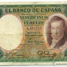 Billetes españoles: BILLETE DE 25 PESETAS DE 25 DE ABRIL DE 1931. BC. Lote 41619248