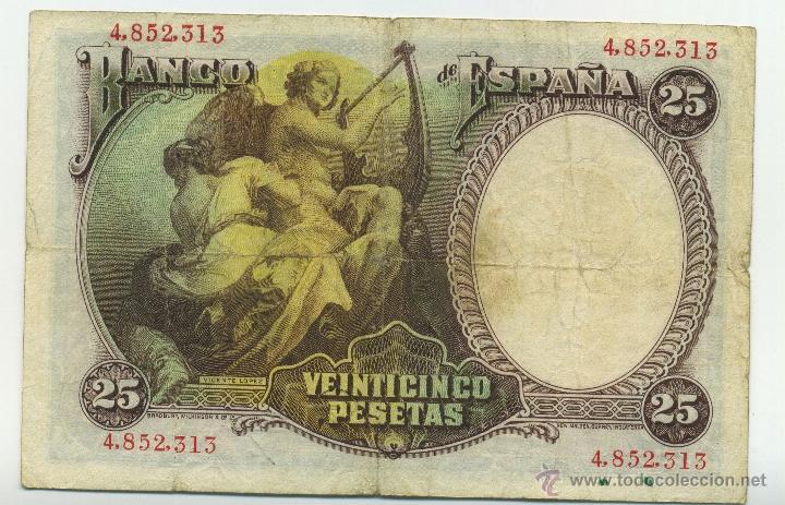 Billetes españoles: Billete de 25 pesetas de 25 de abril de 1931. BC - Foto 2 - 41619248