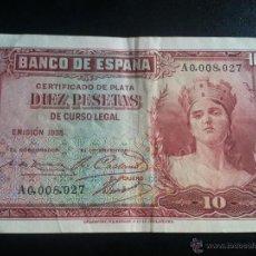 Billetes españoles: II REPUBLICA EMISION 1935.- 10 PESETAS. SERIE A 0.008.027. Lote 41681194