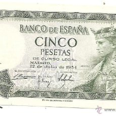 Notas espanholas: 5 PESETAS DE 1954. SIN CIRCULAR. Lote 42338045