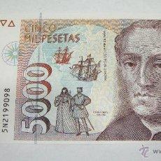 Billetes españoles: 5000 PESETAS DE 1992. CRISTOBAL COLON. SERIE 5N. PLANCHA / SIN CIRCULAR.. Lote 42519862