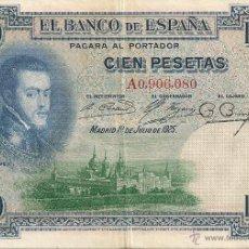 Billetes españoles: 100 PESETAS DE 1925 SERIE A-080 RARO. Lote 42564991