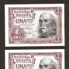 Billetes españoles: SMG 1 PESETA 22 JULIO 1953 PAREJA CORRELATIVA SC LETRA C. Lote 42628601