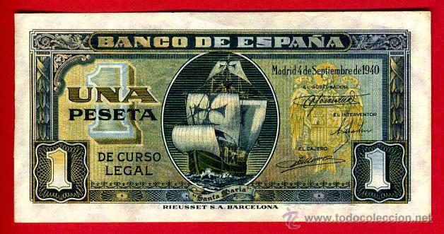 Billetes españoles: BILLETE 1 PESETA SEPTIEMBRE 1940 , BARCO , EBC , SERIE C , ORIGINAL , T282 - Foto 2 - 42633338