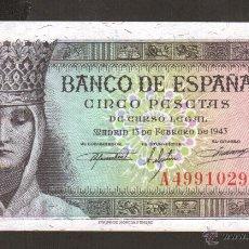 Billetes españoles: SMG 5 PESETAS 13 FEBRERO 1943 SC LETRA A. Lote 42662062