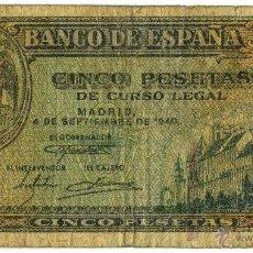 Billetes españoles: BILLETE DE 5 PESETAS DE 4 DE SEPTIEMBRE DE 1940. Lote 42969149