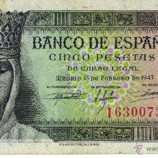 Billetes españoles: BILLETE DE 5 PESETAS DE 13 DE FEBRERO DE 1943. Lote 42969282