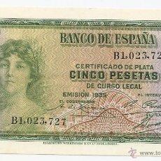 Notas espanholas: 5 PESETAS DE 1935. SIN CIRCULAR. Lote 43142056