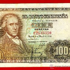 Billetes españoles: BILLETE 100 PESETAS 1948 , MBC+ , SERIE C , ORIGINAL , T350. Lote 43148091