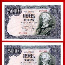 Billetes españoles: 2 BILLETES, PAREJA , 5000 PESETAS 1976 , EBC++ , OJO SIN SERIE ,ORIGINAL , T568 569. Lote 43150470