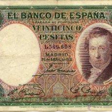 Billetes españoles: 25 PESETAS 1931 VICENTE LÓPEZ MBC . Lote 43186735
