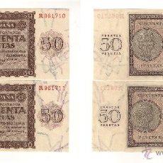 Billetes españoles: BILLETE DE 50 PESETAS DEL ESTADO ESPAÑOL (FRANCO) DE 1936 DE BURGOS. PAREJA CORRELATIVA. EBC. (F123). Lote 43325717