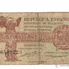 Billetes españoles: BILLETE UNA PESETA REPUBLICA ESPAÑOLA 1937. Lote 43333481