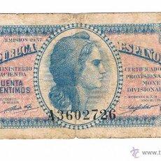 Billetes españoles: BILLETE 50 CENTIMOS REPUBLICA ESPAÑOLA 1937. Lote 43333611