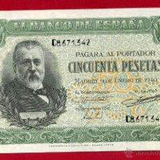 Billetes españoles: BILLETE 50 PESETAS ENERO 1940 , PLANCHA, SERIE C , ORIGINAL , T342. Lote 43568215